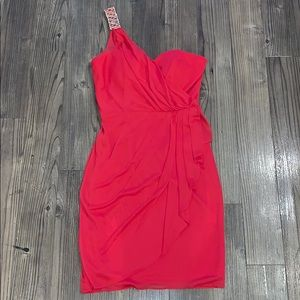 👗 Bright Red Cache Dress with Gold Embellishment